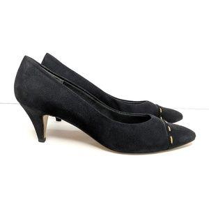 Joyce Vintage Black Kitten Heels 10 Narrow